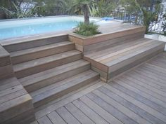58 Ideas Backyard Patio Ideas Decks Stairs For 2019 House Stairs Backyard Decks Ideas Patio Stairs Backyard Pool Landscaping, Backyard Pool Designs, Small Backyard Pools, Small Pools, Patio Design, Small Patio, Landscaping Ideas, Garden Design, Above Ground Pool Decks