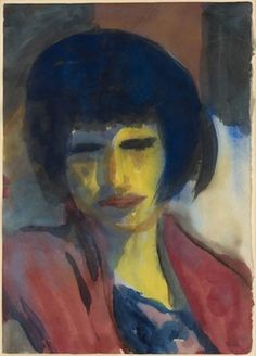 Emil Nolde, 'Portrait of a woman (yellow face, red dress),' 1930, Galerie Thomas