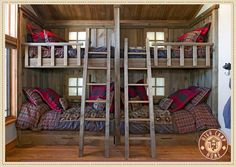 Another awesome bunk system.  Good use of space.  Love the fabric choices.  So manly.
