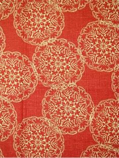 "Danda Saffron.   John Robshaw Designer Fabric - Blockprint Textiles. Perfect drapery fabric or light use upholstery fabric. 55% linen, 45% rayon. Repeat: V: 13.5 H: 13.875, Duraguard finish. Made in U.S.A. 21034-551. 54"" wide."