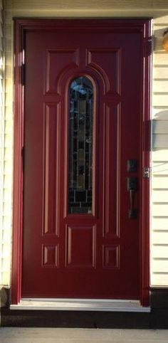 Naples glass insert by Masonite, Portatec Red coloured single entry door.