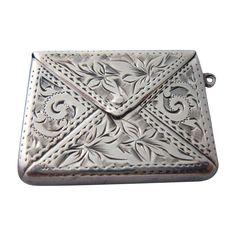 Engraved Edwardian Sterling Silver Stamp Case - 1903... Handmade Silver Jewellery, Sterling Silver Jewelry, Antique Jewelry, Antique Wax, Antique Boxes, Spoon Jewelry, Charm Jewelry, Vintage Silver, Antique Silver