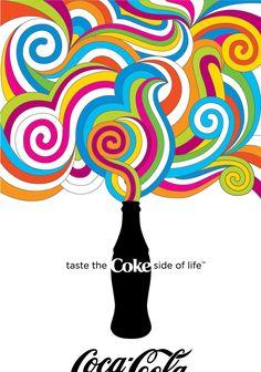 """Jacoboski-Taylor Design """"Coke Side of Life"""" Poster Illustrator Milton Glaser-inspired poster for Coca-Cola's 2007 """"Coke Side of Life"""" Campaign. Milton Glaser, Bob Dylan Poster, Pop Art, Poesia Visual, Looks Dark, Stefan Sagmeister, Life Poster, Collage, Art Design"""