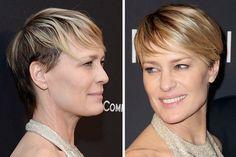 """Die Pixie-Frisur von Robin Wright Im Januar 2014 durfte sich Robin Wright über einen Golden Globe freuen, denn sie wurde für ihre Rolle in der Serie """"House Of Cards"""" ausgezeichnet. Nebenbei beeindruckte die Schauspielerin mit einem zeitlosen Pixie Cut."""