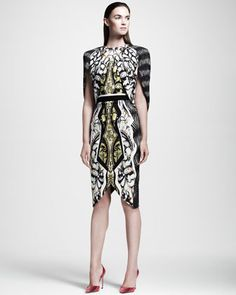 Printed Cape-Back Dress