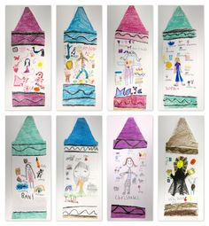 """One of the first projects my first graders made were these """"All About Me Crayons"""". We started the day by reading the book The Day the Crayons Quit, which is super funny and adorable. Then, they traced a crayon template and drew the wavy black lines of the wrapper. They chose their favorite color for … … Continue reading →"""