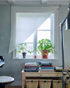 A picture a window with a hung DIY curtain - Ikea instructions with different options for DIY window treatments