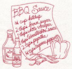 Barbecue Sauce (Redwork) design (M13632) from www.Emblibrary.com