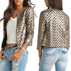 2017 New Spring Style Vogue Lozenge Women Sequins Jackets Three quater sleeve Fashion Coats Outwears Gold Coffee #Affiliate