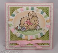 I like the way she added the ribbon around the die cut to add color and tie it all in.