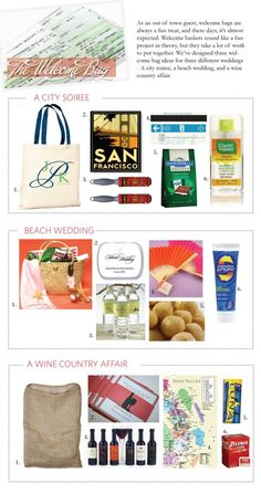 City, beach, and wine country wedding welcome bag ideas for out of town guests Destination Wedding Welcome Bag, Wedding Welcome Bags, Wedding Gift Bags, Wedding Favors, Welcome Gifts, Guest Gifts, City Beach, Hotel Wedding, Small Bags
