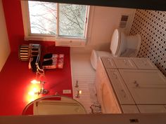 My perfect bathroom...red, black, and white.
