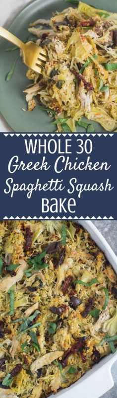 Need an easy, healthy weeknight dinner? You have to try this Whole 30 Greek Chicken Spaghetti Squash Bake! It's gluten and dairy free, made with only a few ingredients like chicken, olives, sun dried tomatoes + spaghetti squash. Packed with flavor and simple to make – it will be your new favorite dinner! #whole30 #healthy | whole 30 dinner | whole 30 low carb | whole 30 chicken dinner | whole 30 spaghetti squash |