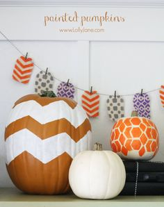 Easy painted pumpkins tutorial using paint & a stencil!