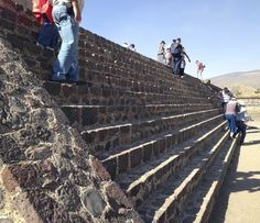 The steep steps of the Pyramid of the Sun, an archaeological site 45 minutes away from Mexico City.
