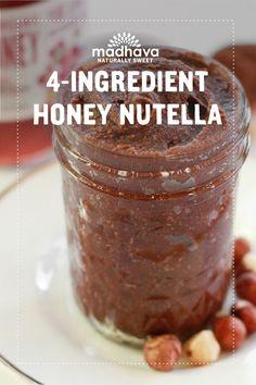 4-Ingredient Honey Nutella | Madhava Easy Snacks, Yummy Snacks, Snack Recipes, Nutella Spread, Sweet Sauce, Apple Slices, Chocolate Hazelnut, Raw Honey, 4 Ingredients