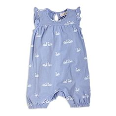 Comfy, soft and totally adorable. A lavender blue sleeveless romper with short legs, decorated with cute swans.   - Flounce hem on shoulders - Keyhole and button at the back - Push buttoning at the inside of legs - Short legs with elasticated endings - Allover print - Soft organic cotton  Machine wash 40° Materials:100% Cotton Item code:7360504 Supplier GOTS lic. no 28618