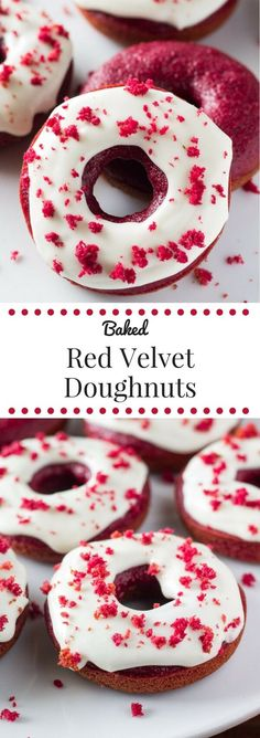 The BEST Red Velvet Doughnuts. Soft & moist with the perfect cake doughnut crumb, a delicious red velvet flavor and a cream cheese glaze.