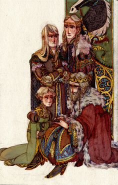 """Eowyn, Eomer, Theodred, and Theoden from """"Lord of the Rings"""" - Art by s-u-w-i.tumblr.com"""