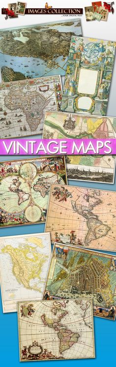 Digital collection 80 Antique Maps Large Images printable for