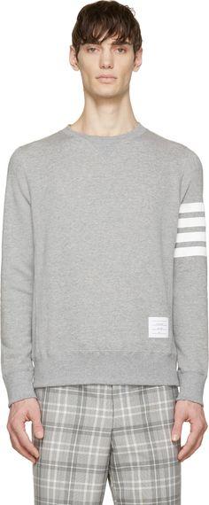 Thom Browne: Heather Classic Stripe Sweatshirt