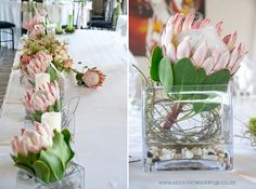 Main table with vases of King Proteas and Dodda Wedding Venue Decorations, Bridal Shower Decorations, Flower Decorations, Wedding Day Invitations, Wedding Favours, Table Flower Arrangements, Table Flowers, Protea Wedding, Wedding Flowers