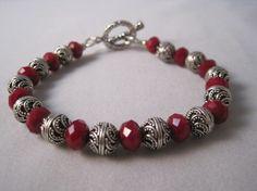 Ruby Red Quartz Bracelet via Etsy