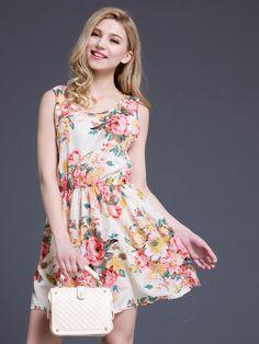 White Floral Print Sleeveless Skater Mini Dress