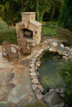 Trying to find right design of pool, fireplace, pond and patio....