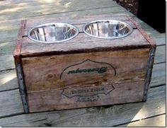 great idea for an old crate. fido feeding station!