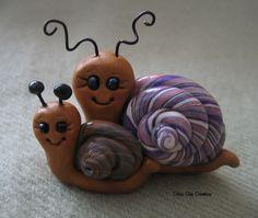Polymer Clay Happy Snails. $15.00, via Etsy.