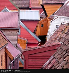 """""""Rooftops in Bergen, Norway"""" Seeing so many rooftops which I like, almost need a new board. S"""