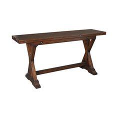 "Hammary Furniture  HIDDEN TREASURES :: FLIP-TOP CONSOLE TABLE 090-276.  Pine solids, rustic finish. Sale price 779.00. 64""WX18""(36"")X31""H."