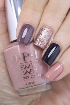 Grape Fizz Nails OPI Infinite Shine Nail art pointer finger You Don't Know Jacques! middle finger Bring on the Bling; ring finger Lincoln Park after Dark; Gorgeous Nails, Pretty Nails, Amazing Nails, Perfect Nails, Uñas Fashion, Fashion Women, Pink Fashion, Fashion 2018, Colorful Nails