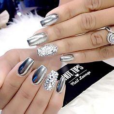 chrome with diamond nail art bmodish Nail Design, Nail Art, Nail Salon, Irvine, Newport Beach
