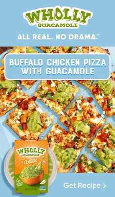 All your pizza dreams will come true with our take on a Spicy Buffalo Chicken Pizza, topped with our Classic Guacamole.