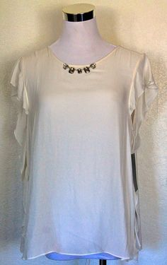ZARA RUFFLED SHORT SLEEVE TOP BLOUSE JEWELED CHAIN NECK LARGE ART 8311/098/712 L #ZARABASICCOLLECTION #Blouse #DRESSALL