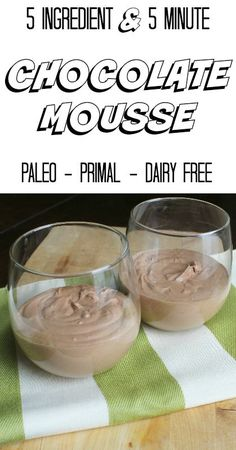 Paleo Five Ingredient and Five Minute Chocolate Mousse