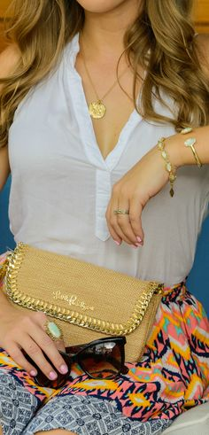 Summer accessory game on point! Love the Lilly Pulitzer straw clutch, Kendra Scott bracelets and ring, and Express cat-eye sunglasses! Preppy Style, Preppy Fashion, My Style, Prep Outfits, Cute Outfits, Only Fashion, Womens Fashion, Ashley Brooke, Trendy Summer Outfits