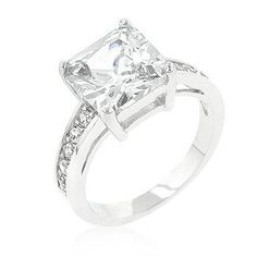 Classic Princess Cut Raised Pave Engagement Ring