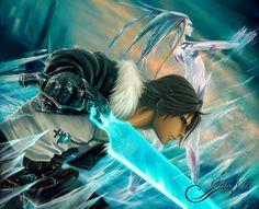 Tags: Anime, Ice, Squall Leonhart, Final Fantasy VIII, Shiva (Final Fantasy), Blue Skin, Glowing Sword