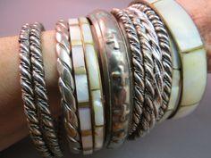 Huge Lot 12 Bangle Bracelets Vintage MOP Shell  Silver Twist Rope Raised Cross #Unbranded