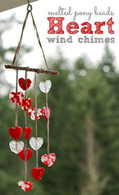 Melted bead wind chimes. Love this Valentine's day craft.