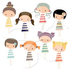 This digital clipart set comes with 8 x Kawaii Girl illustrations.    Each girl is saved separately as a high resolution png file with a