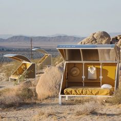 "Artists and writers wanting to play out a ""desert fantasy"" can rent a tiny sleeping pod at this remote campsite in southern California, which looks like a scene from a sci-fi film."