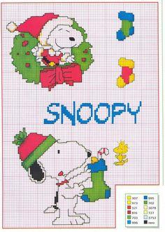 Schema punto croce Snoopy-natalizio