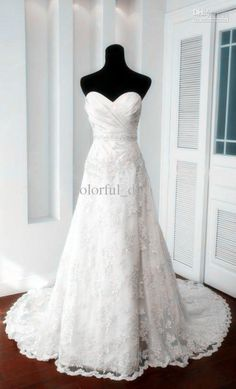 Wholesale New Arrival Satin Sweetheart Lace Bridal A-line Lace Wedding Gowns Wedding Dresses w6, Free shipping, $133.28-134.4/Piece | DHgate