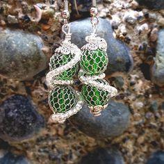 Items similar to Slytherin Earrings Snake Earrings, Green Earrings, Clip On Earrings, Dangle Earrings, Crochet Earrings, Harry Potter Jewelry, Slytherin, Dangles, Nerd