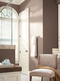 With a midtone brown as your dominant color, lighter, and darker variations of the same hue are elegant. Use Ranch Mink from Pittsburgh Paints & Stains to create this look.