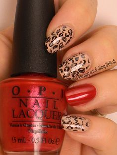 OMD2 Nail Art Animal Print | OPI Don't Pretzel My Buttons, Black Onyx, Innie Minnie Mightie Bow | Be Happy And Buy Polish http://wp.me/p3n4zP-1nM